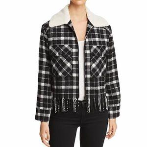 Kate Spade Rustic Plaid Sherpa Collar Jacket XL